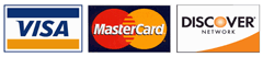 Visa, MasterCard, and Discover cards accepted.